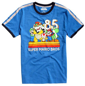 Nintendo-Super-Mario-85-Men-039-s-Graphic-Ringer-T-Shirt-New