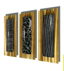 GOLD/BLACK/SILVER Metal Wall Art 3 Wall Scuptures Ultra ...
