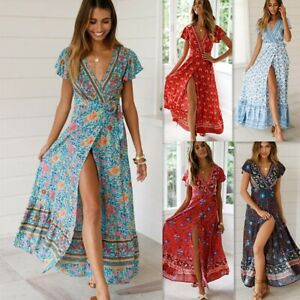UK-Summer-Women-039-s-Boho-Floral-Paisley-Maxi-Dresses-Ladies-Holiday-Beach-Dress