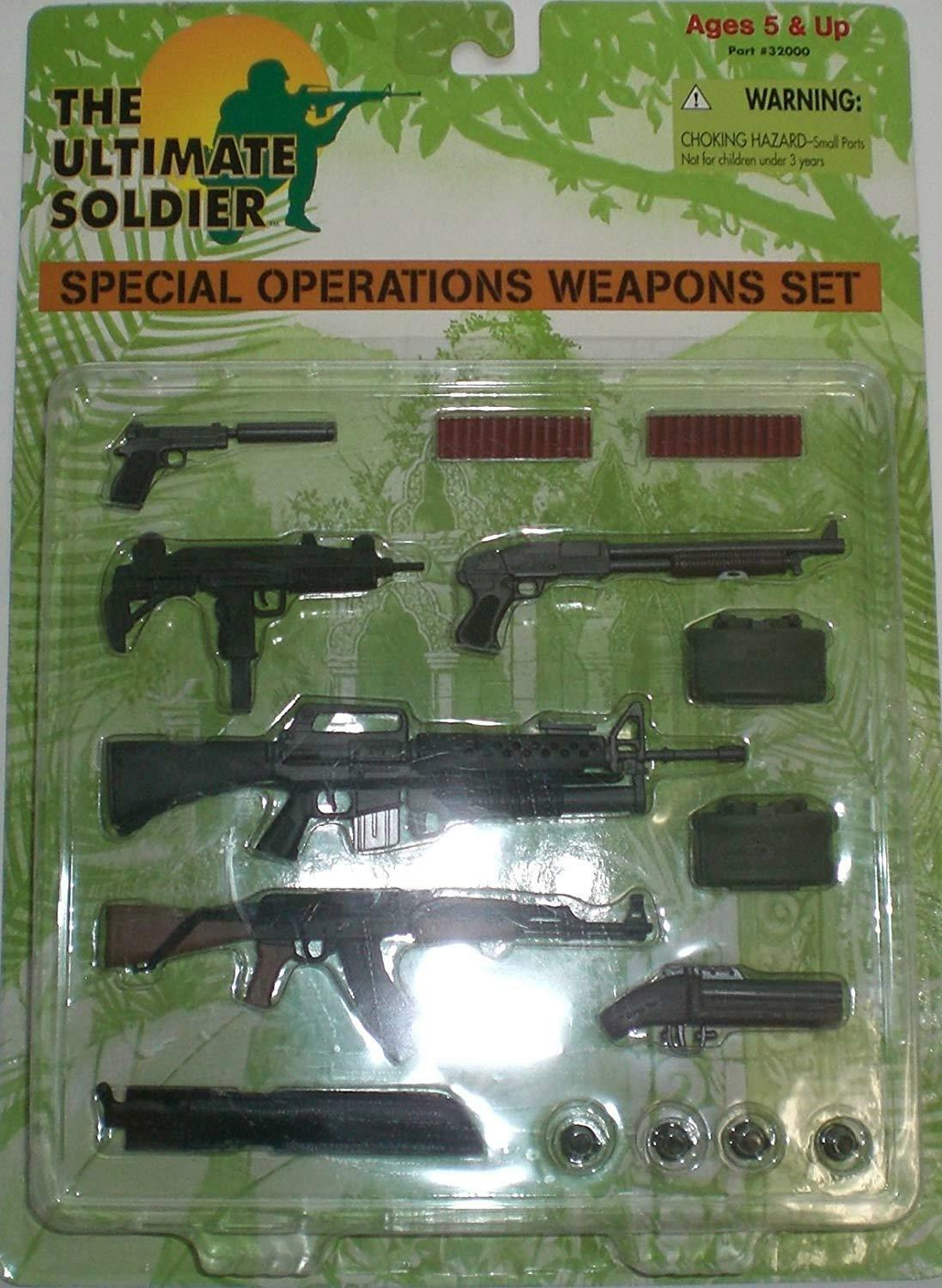 Vintage THE ULTIMATE SOLDIER Special Operations Weapons Set 1 6 Accessory NIB
