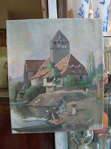 huile-sur-toile-034-Les-lavandieres-au-bord-de-la-riviere-034-51-2-x-42-7-cm