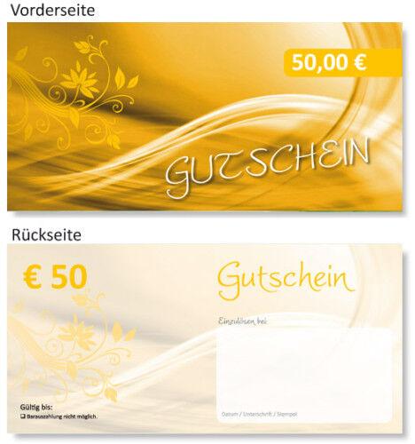 20 x 50 EURO Geschenk Gutscheine Gutscheinkarten TOP