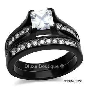 2-10-Ct-Princess-Cut-CZ-Black-Stainless-Steel-Wedding-Ring-Set-Women-039-s-Size-5-11