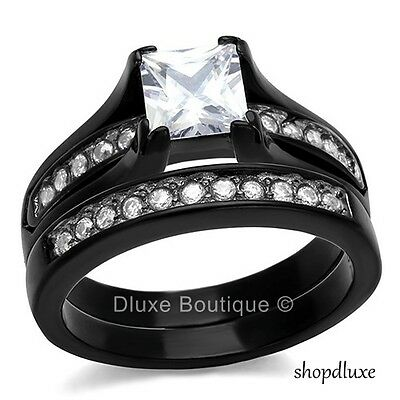 2.10 Ct Princess Cut CZ Black Stainless Steel Wedding Ring Set Women's Size 5-10