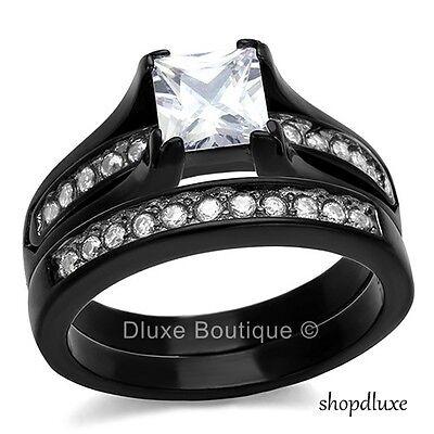 2.10 Ct Princess Cut CZ Black Stainless Steel Wedding Ring Set Women's Size 5-11