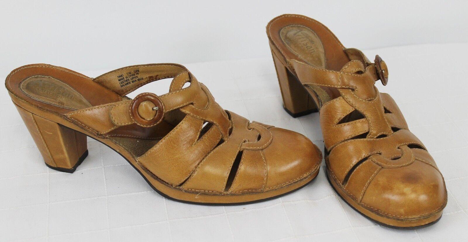 Clarks Artisan Heels Sandals Slip on 11M 74481 Casual Work Comfort Cushion