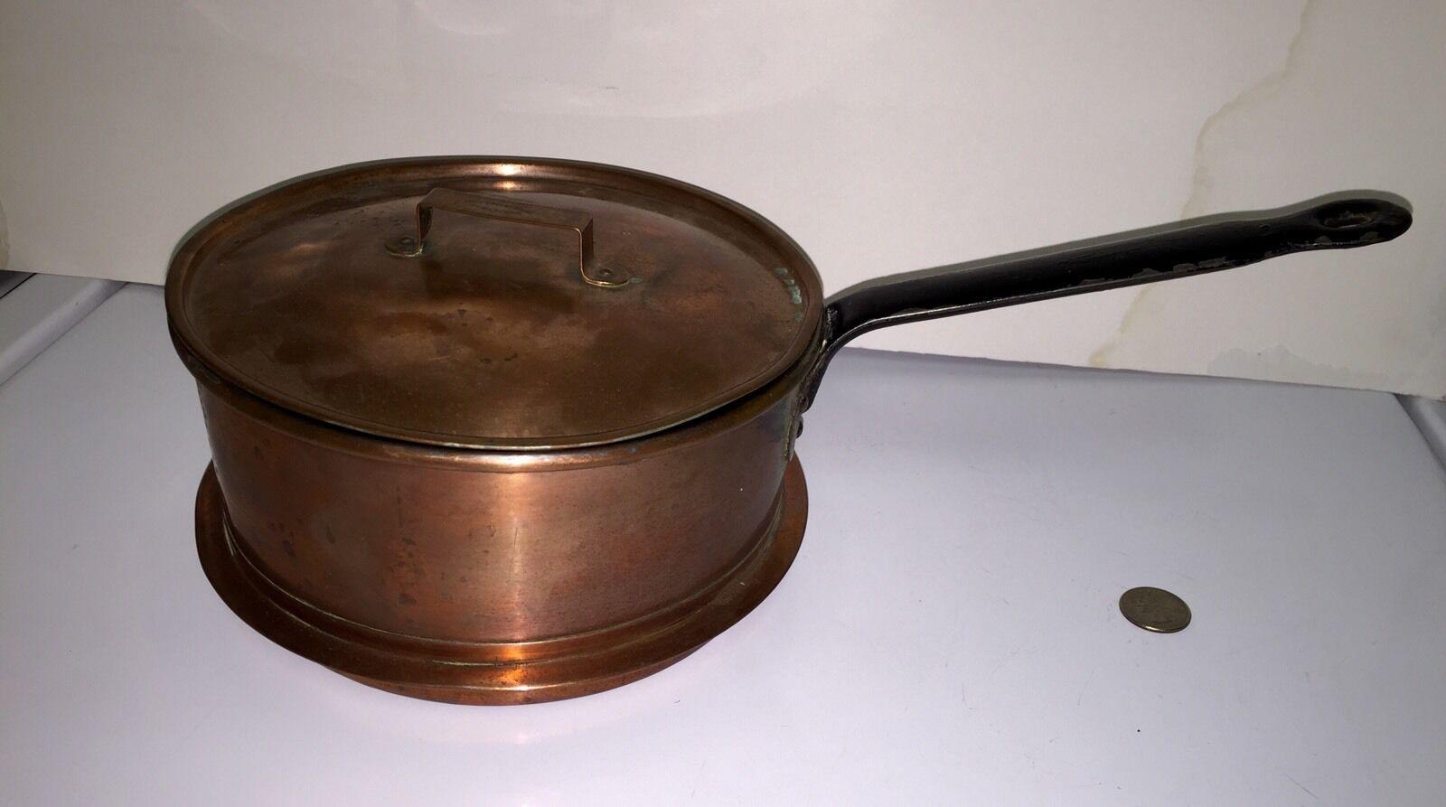 Rare Antique Knut ERIKSSON & Co ESKILSTUNA Suède cuivre double chaudière Pan RARE