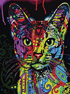 YXQSED Diy Oil Painting Paint by Number Kit for Adults Kids Home cat No Framed