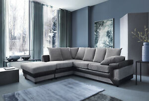 Dino Corner Sofa In Black Grey Or Brown Beige With A Free Footstool Ebay