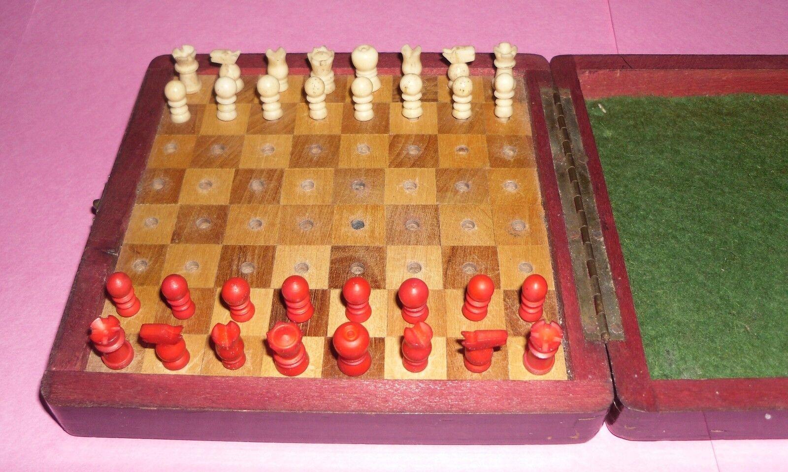 Gift small antique retro vintage decorative ornamental travel chess pieces board