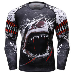 7a1ed771 Shark Rash Guard Dri Fit Boxing Wear Fight Wear MMA Men's Sports ...