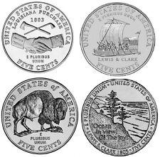 2004 and 2005 D Westward Journey Jefferson Nickels - BU (four coins)