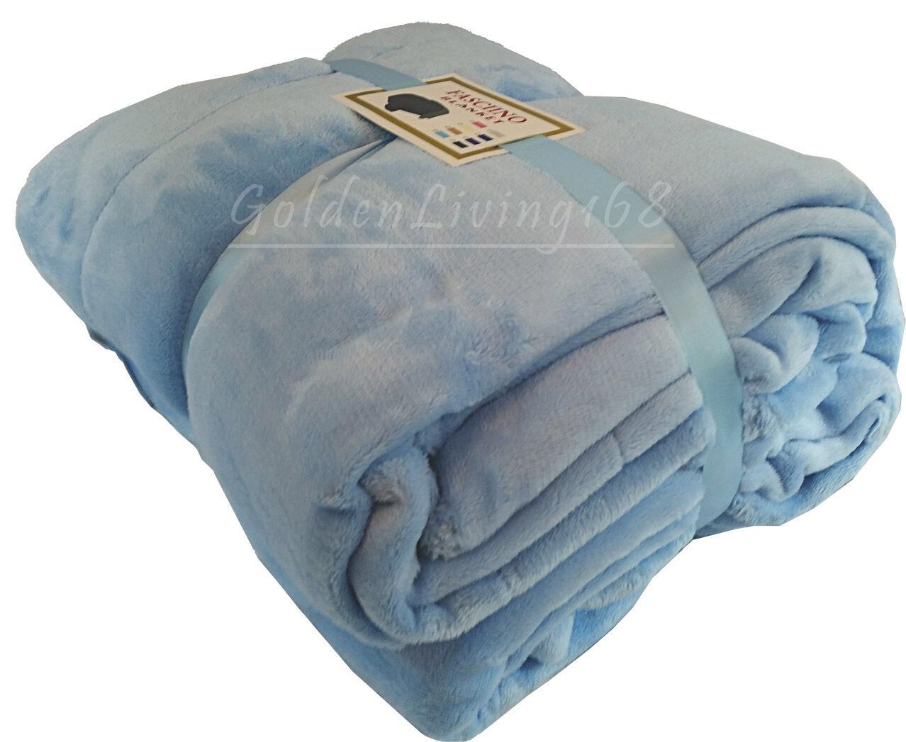Light bluee Soft High Quality Queen Borrego Velour Plush Fleece Blanket Throw