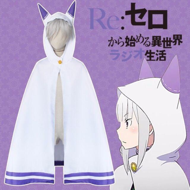Re:Zero Kara Hajimeru Isekai Seikatsu Emilia Cosplay Cloak Cat Ears Cape Coat