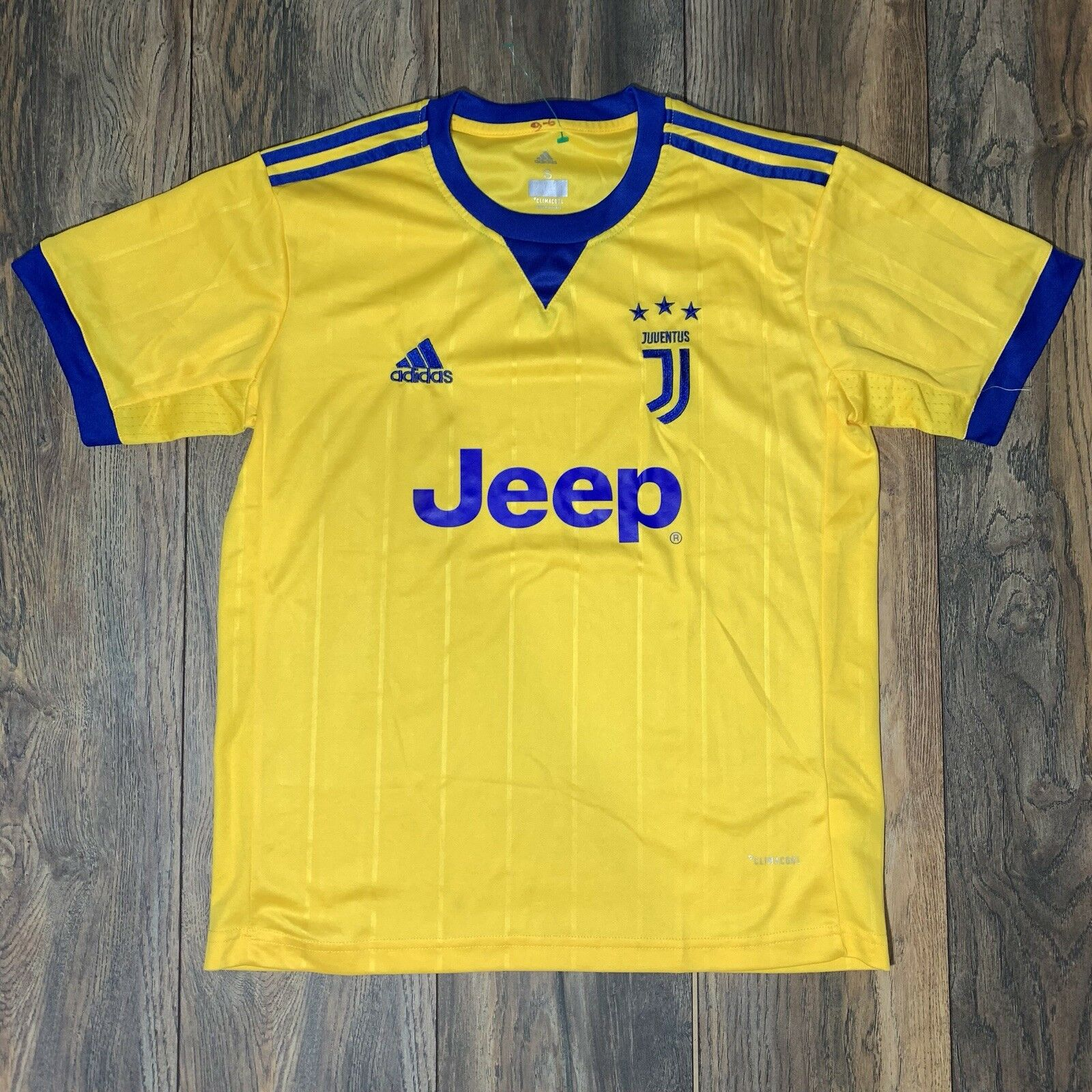Auth Adidas 17-18 Juventus Soccer Away Yellow Jersey Football Club Size  Small 9f4a36083
