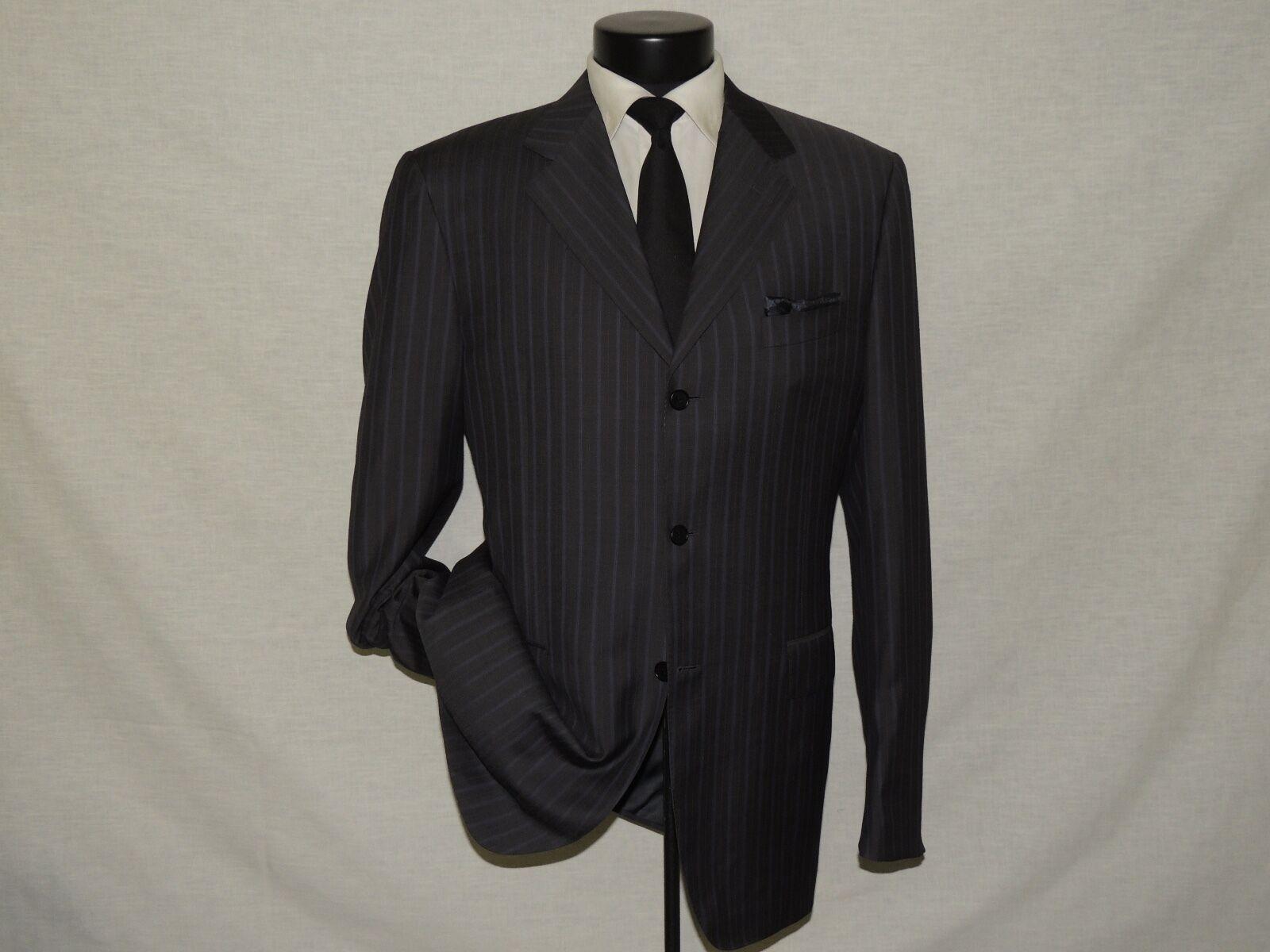D-761 Canali grau stripe 100% wool super 120's Herren suit coat 42 L  pants 35X33