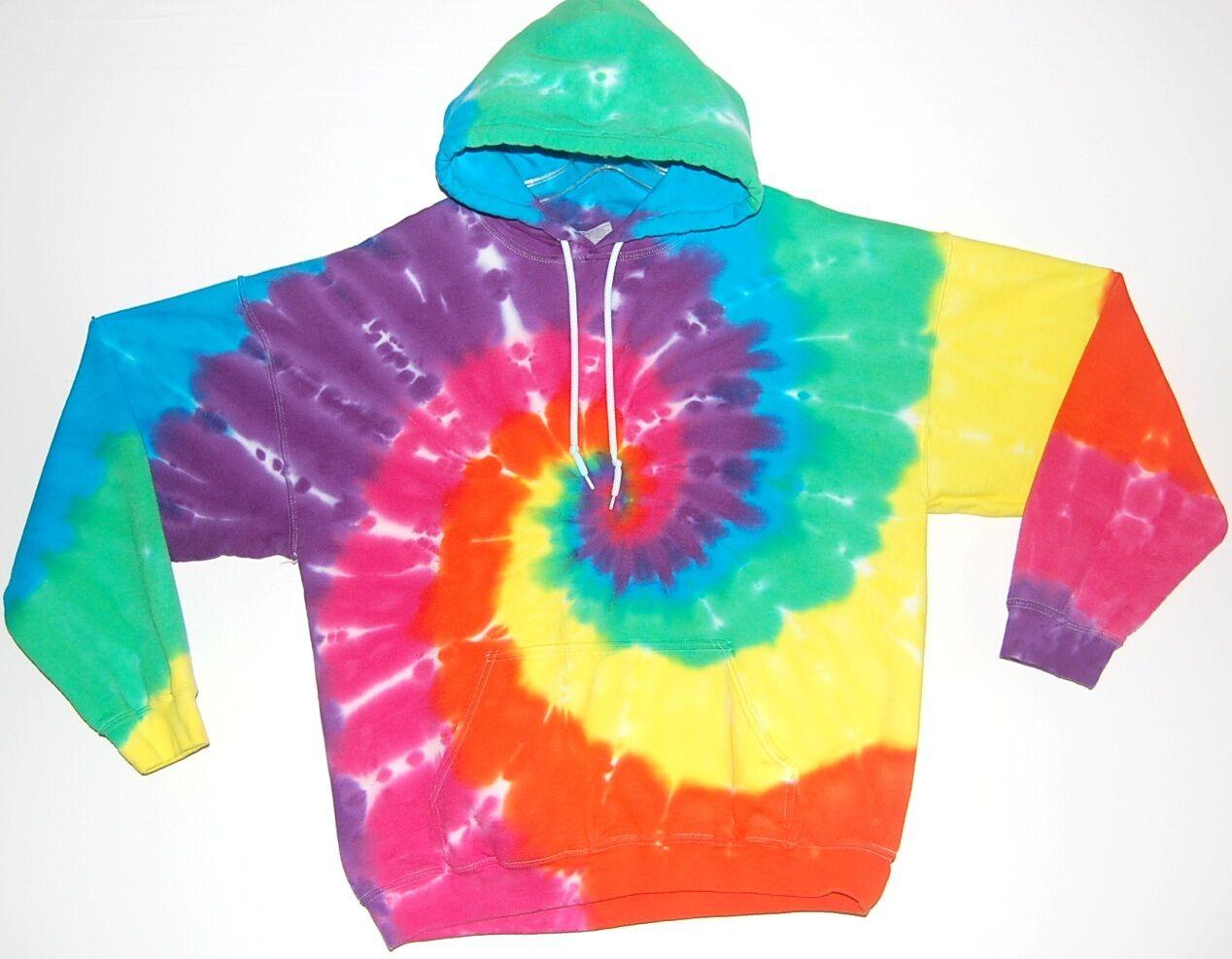 Adult TIE DYE Neon Rainbow Hoodie Sweatshirt hippie small medium large XL 2X 3X