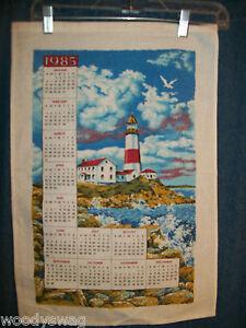 Vintage-Calendar-1985-Material-Lighthouse-Seagull-Quilt-Craft-Free-USA-Ship