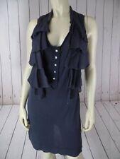 BEBE Top Shirt or Mini Dress XS Gray Sheer Thin Tayon Knit Tank Faux Vest BOHO!