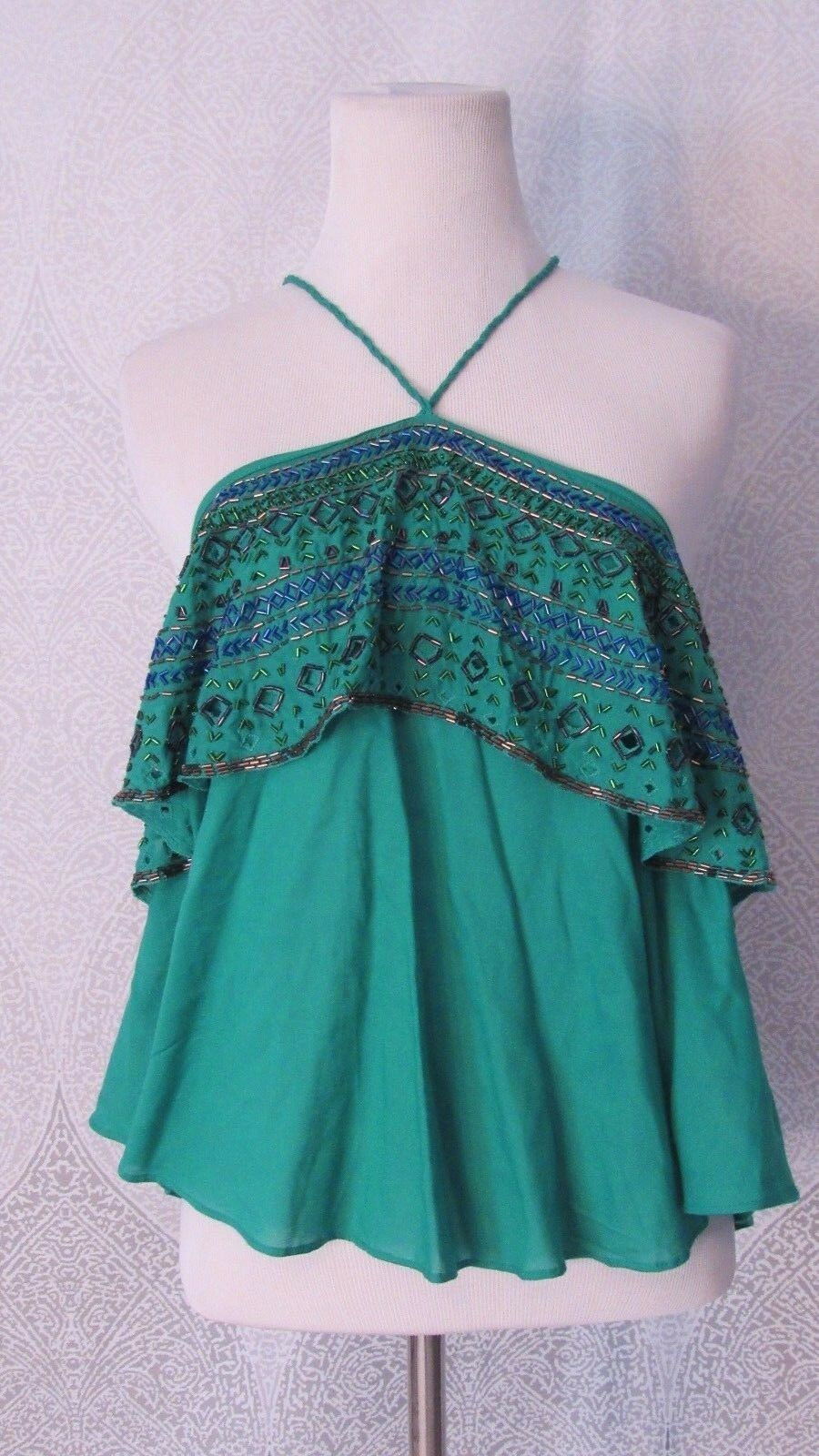 Free People Beaded Tank Top Green Strappy Cropped Style Sz S Flowy Multi color