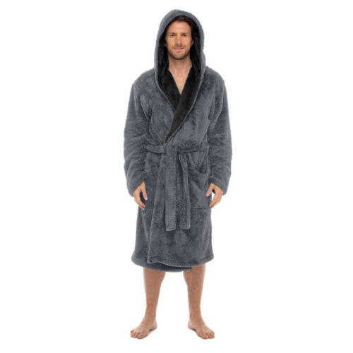 Coral Fleece-SUPER SOFT Mens-ROBE Bathrobe-Contrast Hood USA Seller FAST SHIP