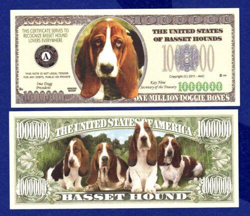ITEM 5 Basset Hound Dog Dollar  Bills  Novelty Collectible J FAKE MONEY