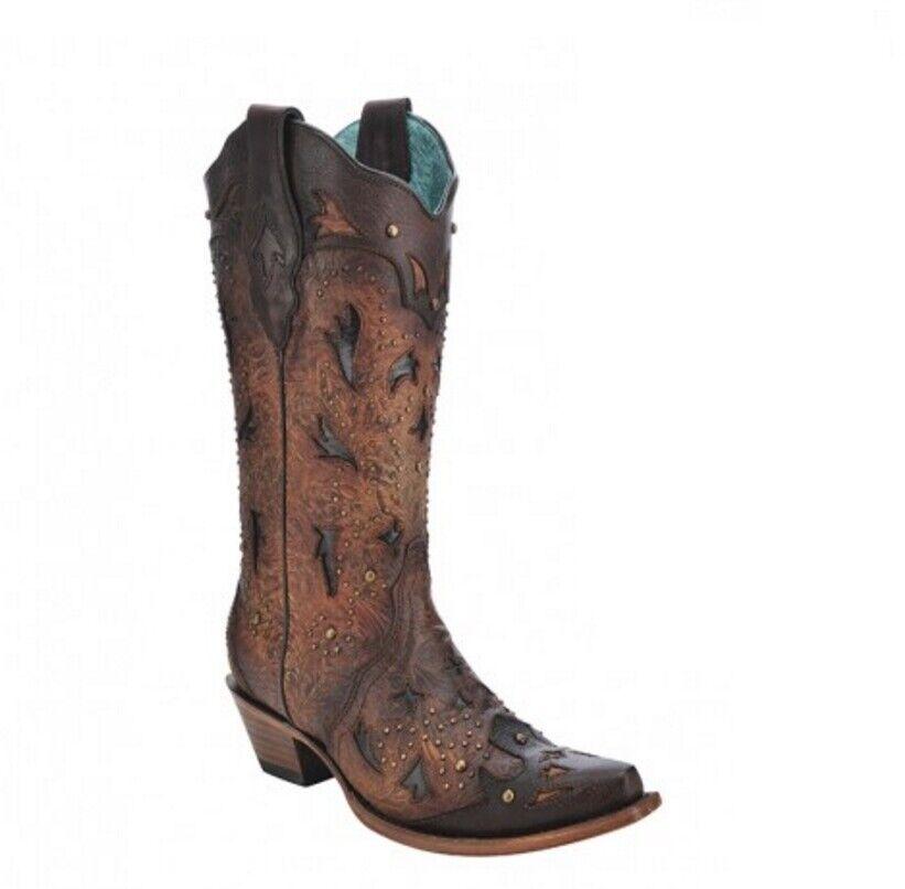 marchi di stilisti economici Corral Ladies Ladies Ladies Snip Toe Marrone Embossed & Studs Leather Western stivali C3044  risparmia fino al 30-50% di sconto