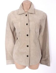 Women-039-s-Vintage-CASUAL-WOMAN-Beige-100-Leather-Suede-Jacket-Overshirt-UK12-UK14