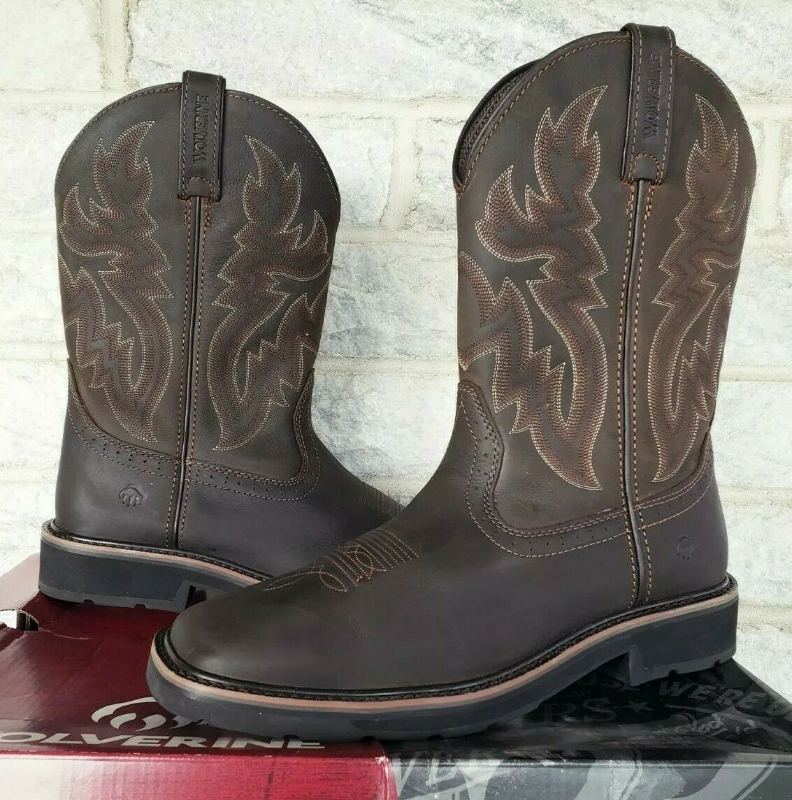 Wolverine Mens Rancher Wellington Work Boots Size 10.5 Brown W10704 Square Toe