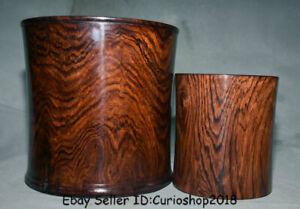 """8/"""" Unique Old Chinese huanghuali wood hand-carved Brush Pot Pencil Vase jar Set"""