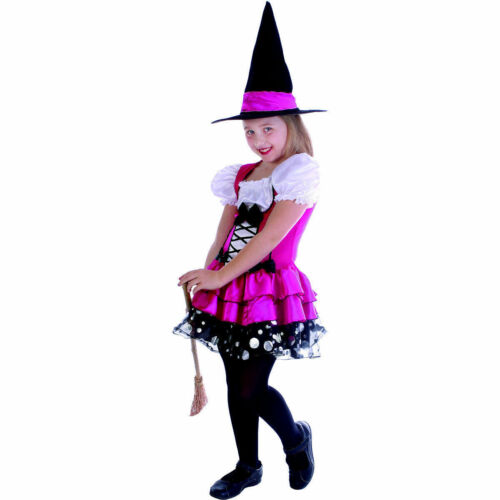 Sassy Pink Witch Girl/'s Halloween Fancy Dress Costume with hat so pretty!