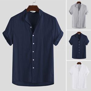INCERUN-Men-039-s-Collarless-Button-Down-Shirt-100-Cotton-Short-Sleeve-T-Shirt-Tops