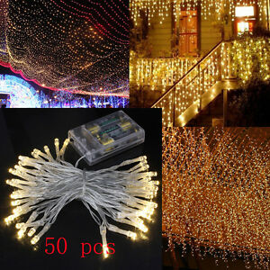50 LED String Fairy Lights Battery Operated Indoor Outdoor Xmas Christmas Par