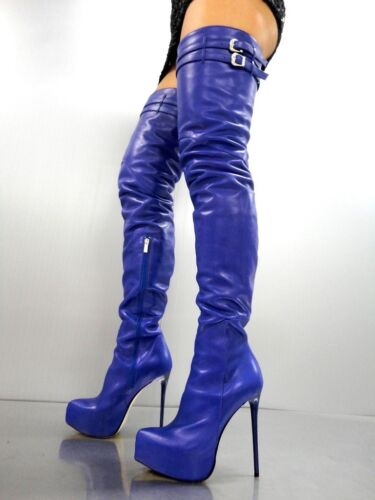 CQ COUTURE PLATFORM CUSTOM OVERKNEE BOOTS STIEFEL STIVALI LEATHER BLUE BLU 36