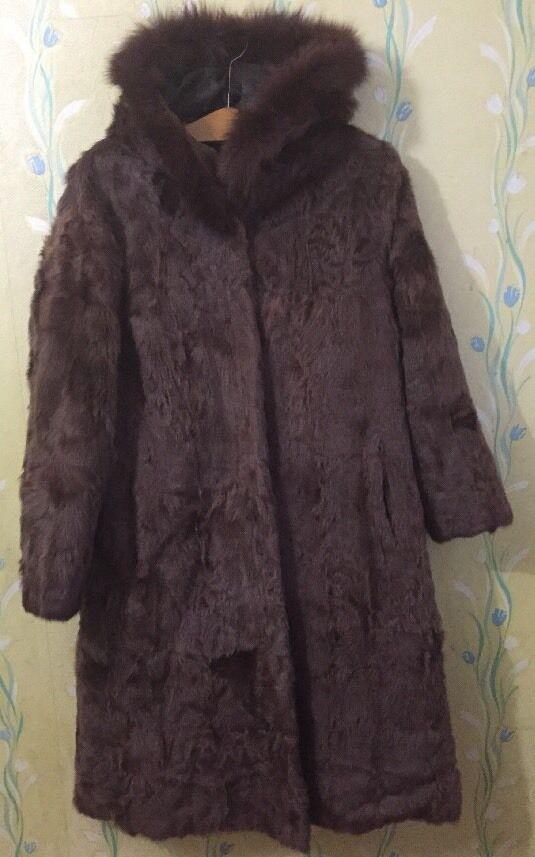 Bili Pelz Gewebe mit Kapuze brown Echt Pelz Mantel Größe 38 M