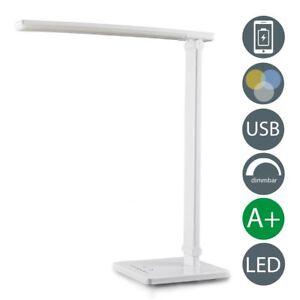 LED-Tischlampe-Schreibtisch-Leuchte-Buero-dimmbar-Touch-USB-Lese-Lampe-Nachttisch