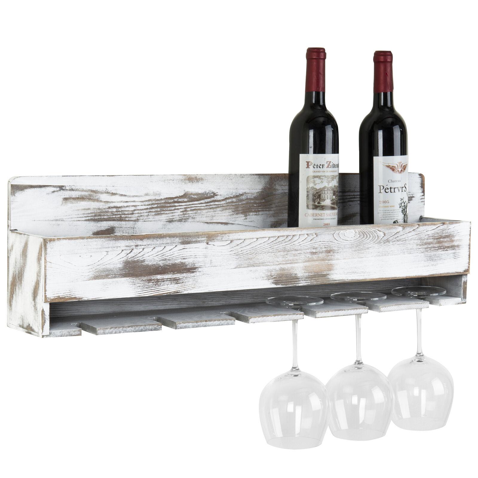 MyGift Rustique Blanc Bois Mural Casier à vin avec bouteille & porte-verre