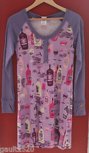 NWT-Munki-Munki-Heather-Ross-Purple-Pink-Wine-Lover-039-s-Henley-Night-Shirt-M-78