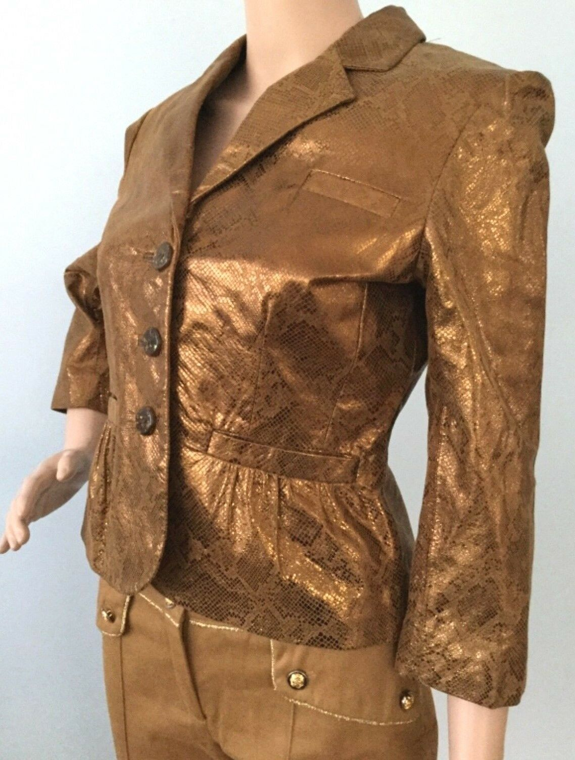 Womens Emilie D. Genuine Leather Fit Flare Snakeskin Look Copper Brown 3 4 6