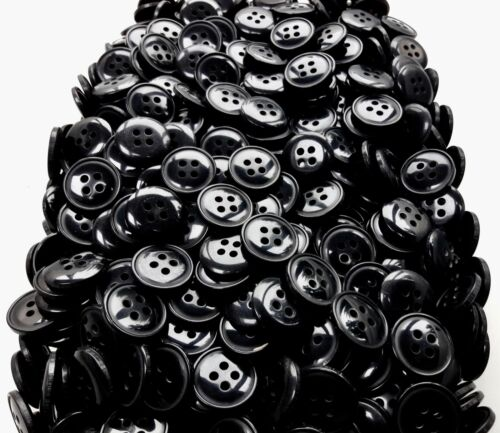 Small 16mm 26L Black 4 Hole Polished Buttons Button Craft Card Making Q515