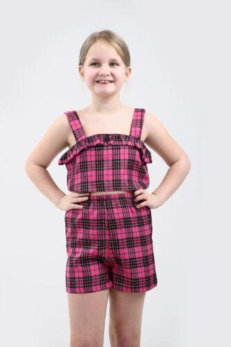 Nouveau élégant Enfants Tartan Check Crop Top Short Set-New Look robe fantaisie