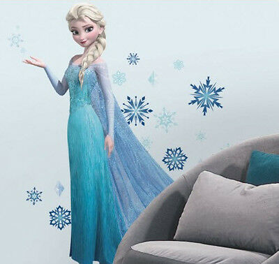 "Disney FROZEN ELSA wall stickers MURAL 44 glitter decals snowflakes 41.5"" tall"