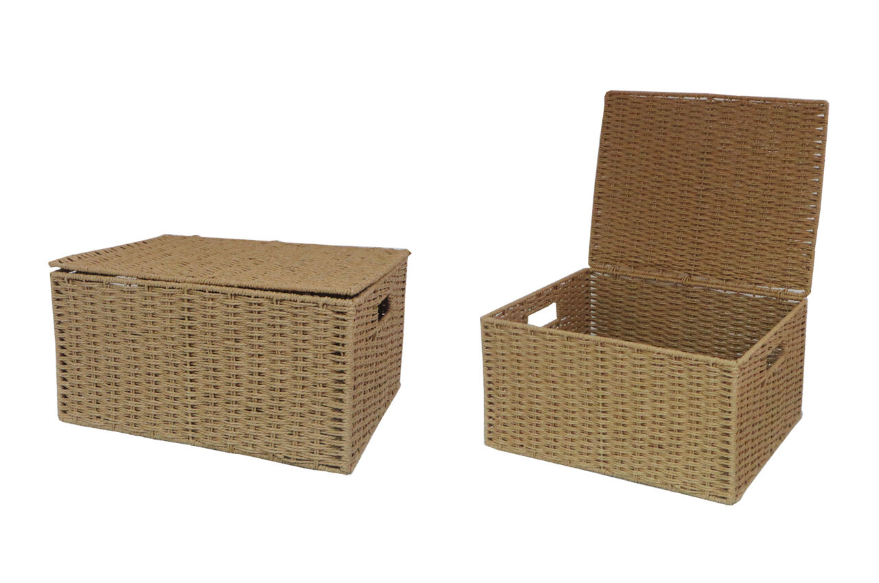natural extra large paper rope storage baskets boxes hampers with lids wb 9694xl ebay. Black Bedroom Furniture Sets. Home Design Ideas