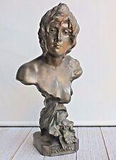 "ATHENE Athena GODDESS OF WISDOM Metal BUST VINTAGE 9.5"" SCULPTURE Greek Art"