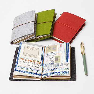 Traveler's Notebook Vintage Felt Cover Passport Size Journal Blank Diary Planner