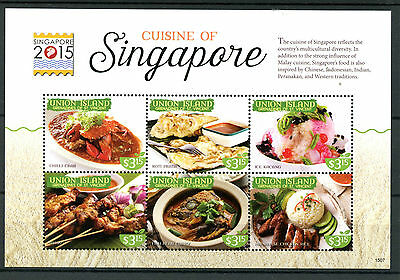 Union Island Grenadines St Vincent 2015 MNH Cuisine of Singapore 2015 6v M/S