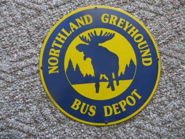 Northland Greyhound Bus Depot Porcelain Advertising Sign With Bull