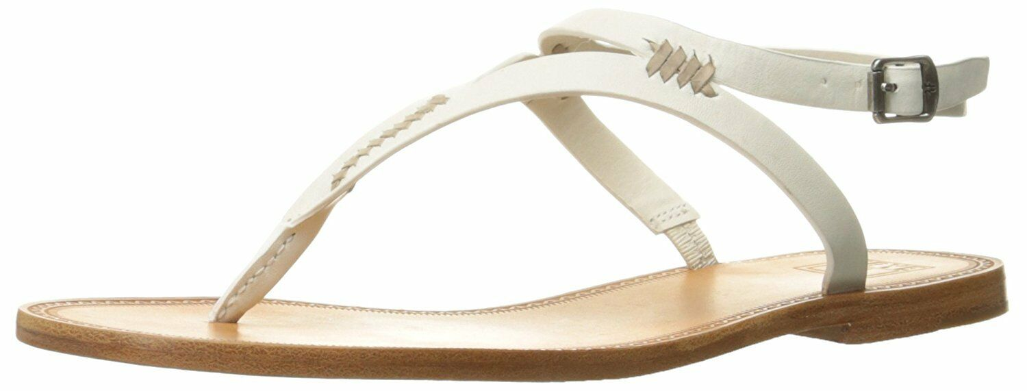 FRYE Women's Ruth Whipstitch Flat Sandal White