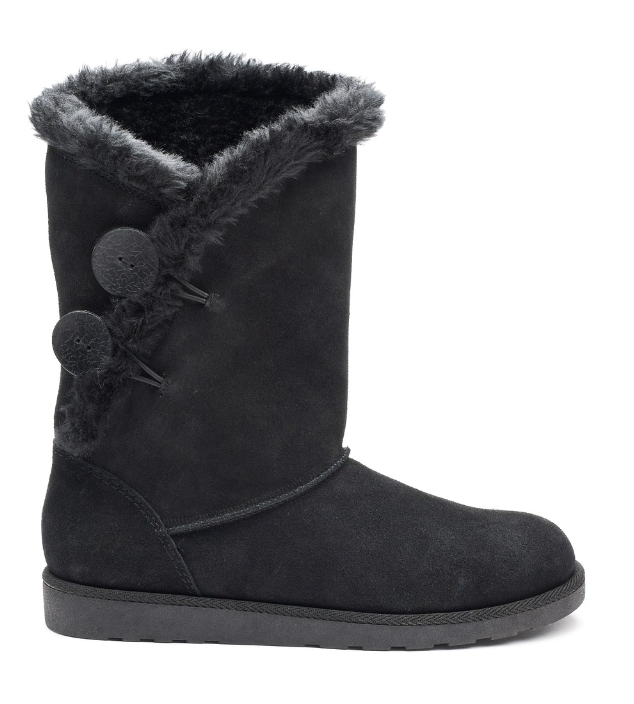Black Boots Suede w  Fur Lining Womens 8.5 NEW Winter Boot shoes NIB 8 1 2 Image