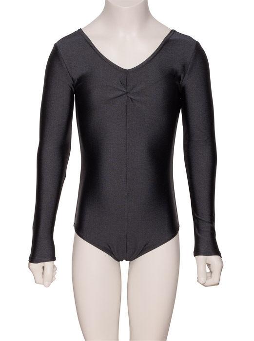 Noir Justaucorps Danse Classique Ballet Gymnastique Ruché Manches Longues Justaucorps Noir Lycra fe5029